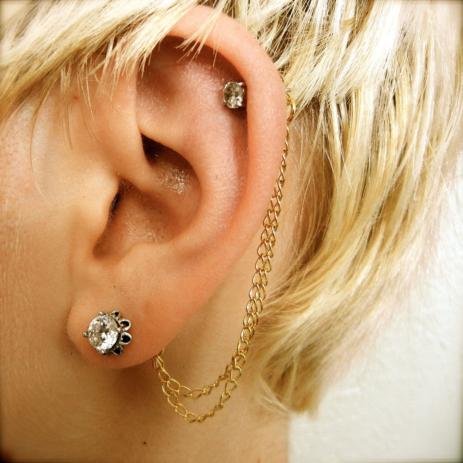 Double Cartilage Chain On Earring Backs Gold