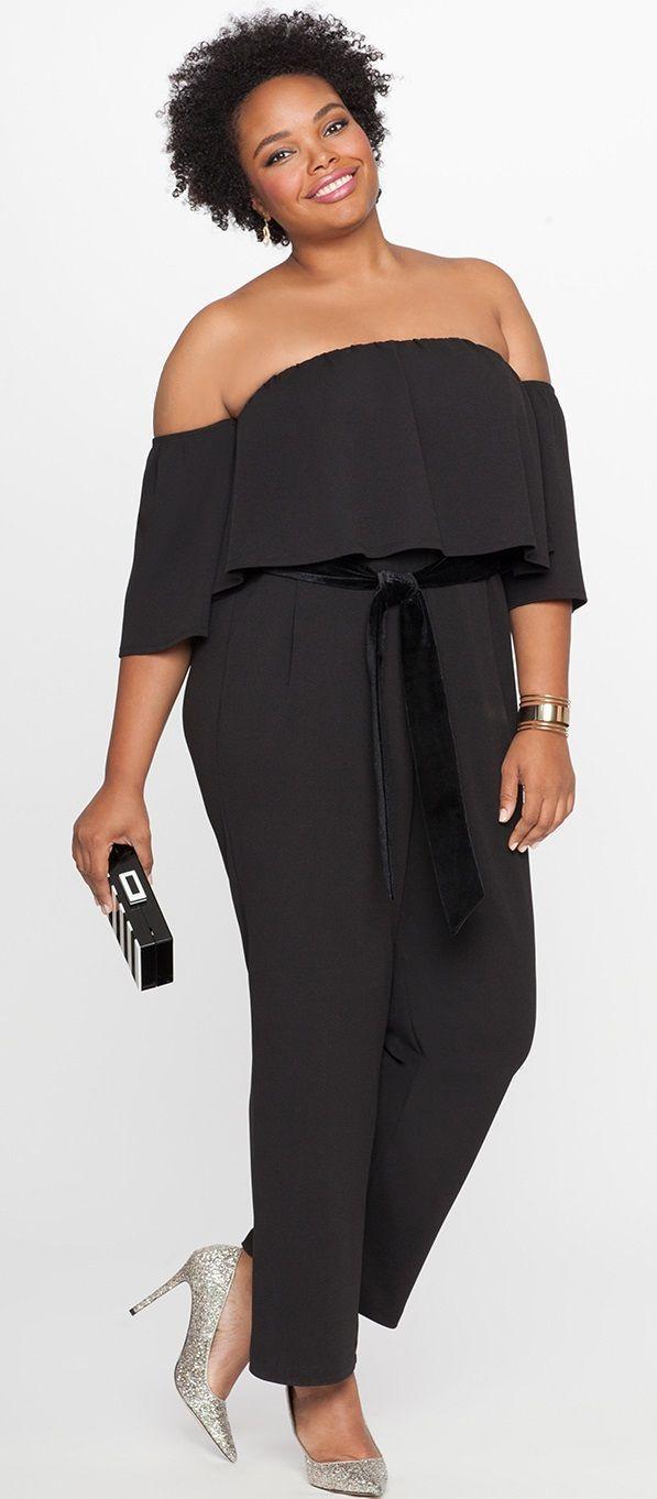 Plus size off the shoulder ruffle overlay dress confección