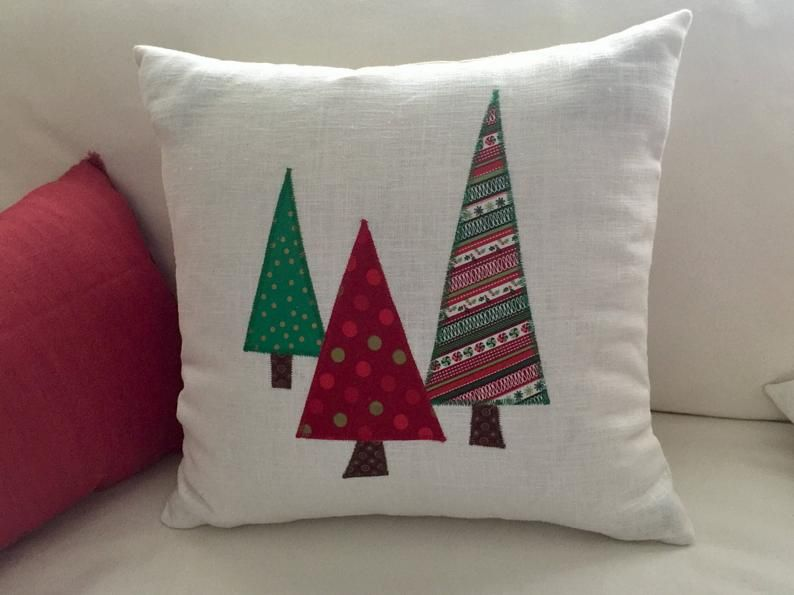 Christmas pillow cover, pillow with trees, Christmas trees, 12x16, 16x16, red and green pillow, decorating ideas, farmhouse Christmas