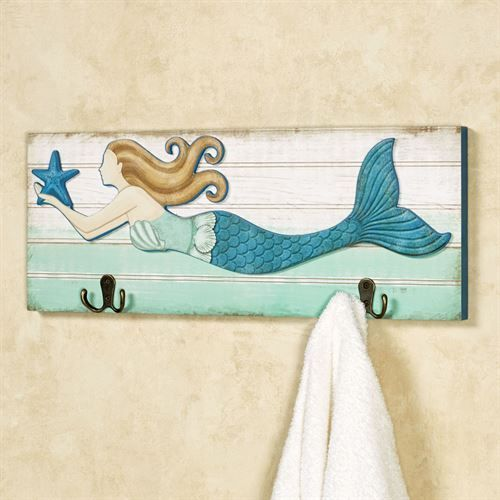 Mermaid Wall Hook Plaque #mermaidbathroomdecor