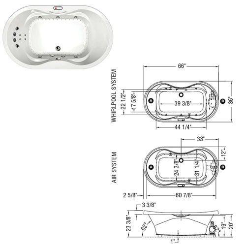 Maax Living 6636 Acrylic Bathtub Model with Massage System 66 x