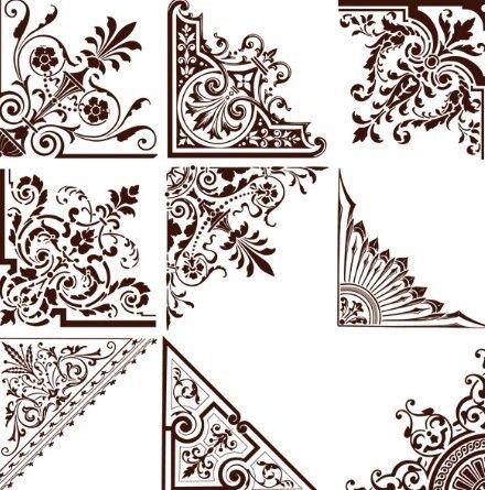 Free Set Of Vintage Floral Corner Ornaments Vector 01 | Mis próximos ...