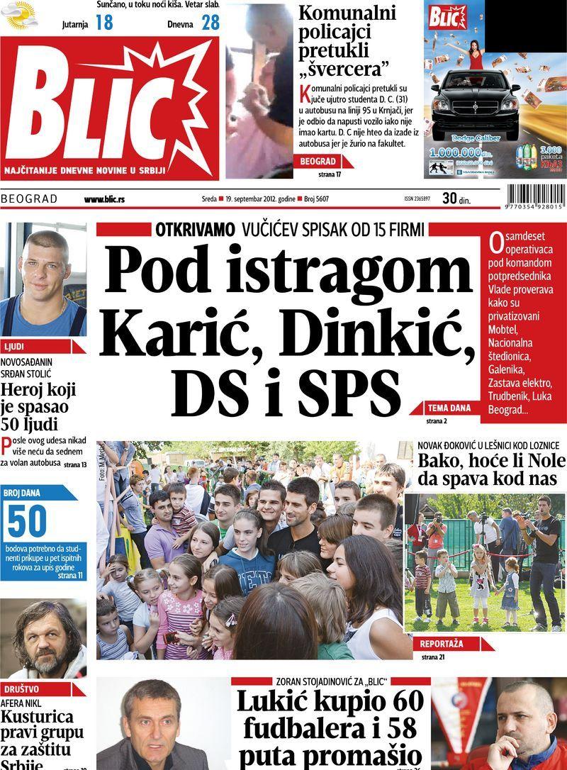 """Naslovna strana """"Blica"""" za 19. septembar 2012. Cards"""
