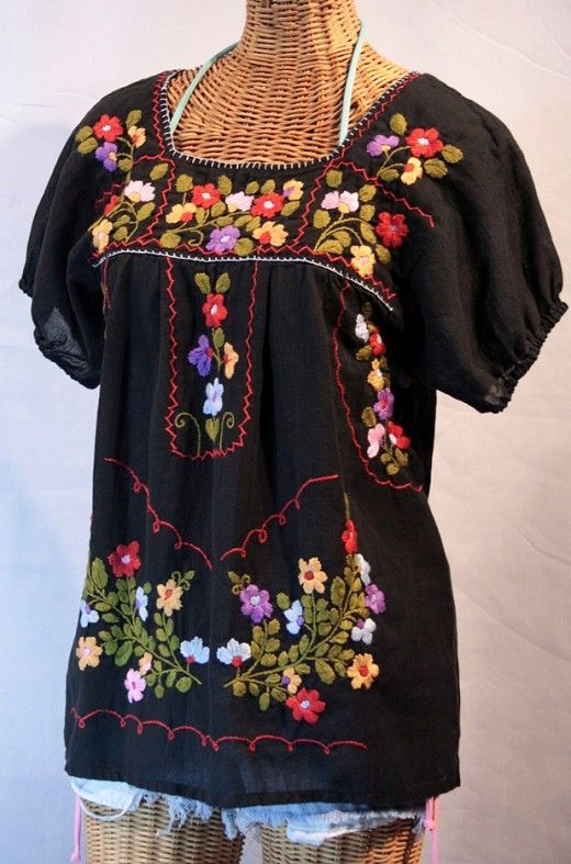 Authentic Mexican Hand Embroidered Cotton Blouse/Top Japala Huipil Multi  Color