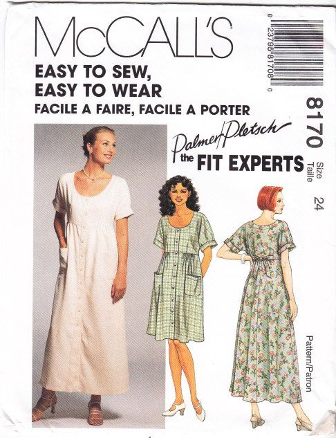 McCalls 8170 Pullover Dress Sewing Pattern Plus Size 24 B46 Uncut