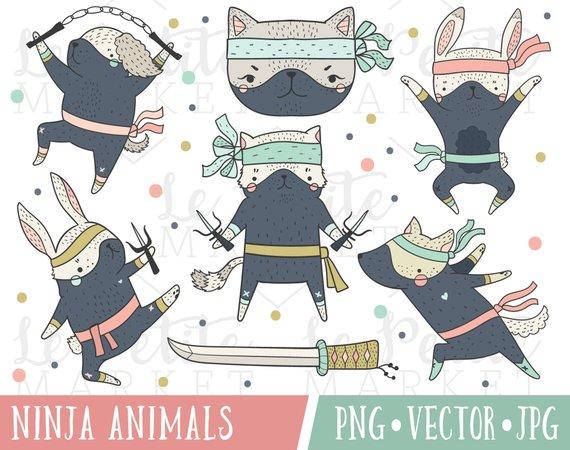 Animal Ninja Clipart Images Ninja Girl Party Ninja Dog Etsy Ninja Cats Cat Clipart Ninja Girl