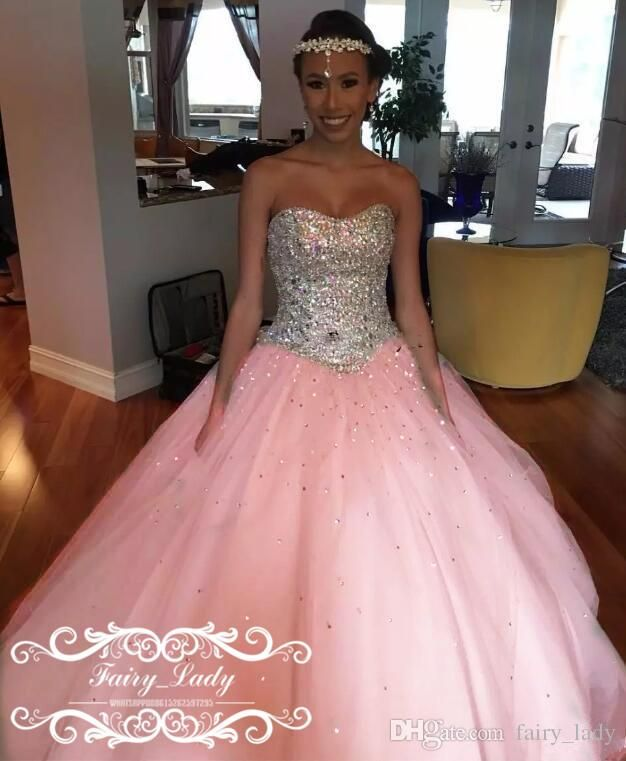 Cheap Silver Rhinestone Crystal Sweet 16 Dresses Quinceanera Shiny Major Beading  Ball Gown Pink Tulle Sweetheart Formal Party Pageant Quinceanera Dresses ... 108bffc7cb2b