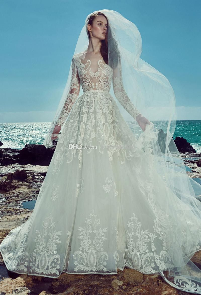Casual wedding dress with sleeves  Long sleeve beach lace wedding dresses  zuhair murad bridal gown