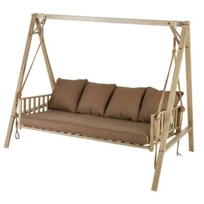 Hampton Bay Cane Patio Swing With Square Back Cushions Gss00208b 4 The Home Depot Outdoor Patio Swing Patio Swing Hampton Bay
