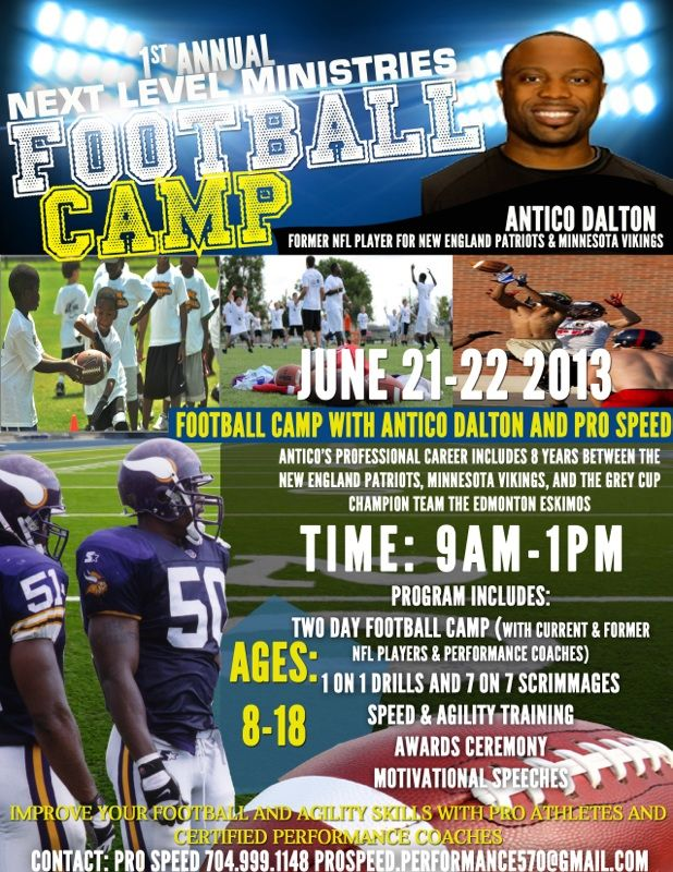 Looking for something fun in the sun? Join our client, former NFL player Antico Dalton, for his youth camp! #sports #athleticism