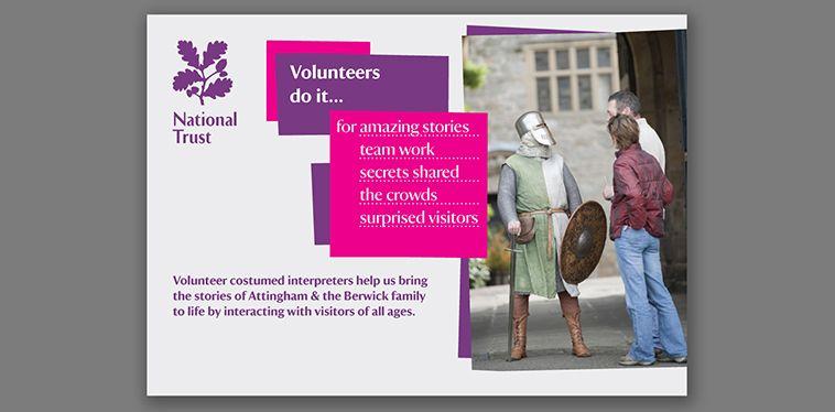 Bilingual National Trust volunteer recruitment materials - bwa design