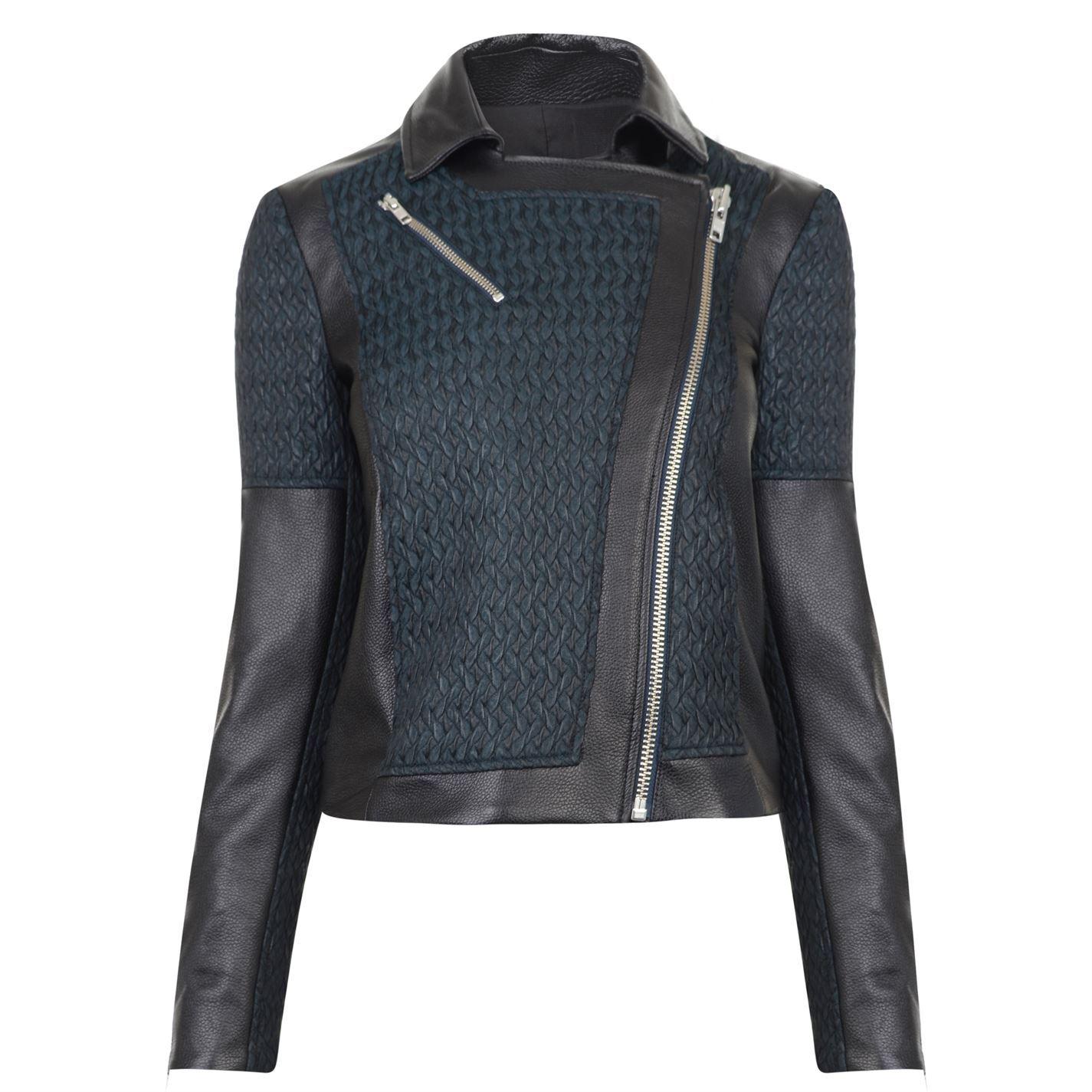 Helmut Lang Jacquard Leather Biker Jacket Womens