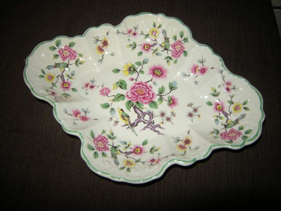 Chinese Rose James Kent Old Foley Scalloped serving bowl or plate measures…