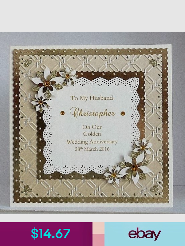 personalised golden 50th wedding anniversary card wife