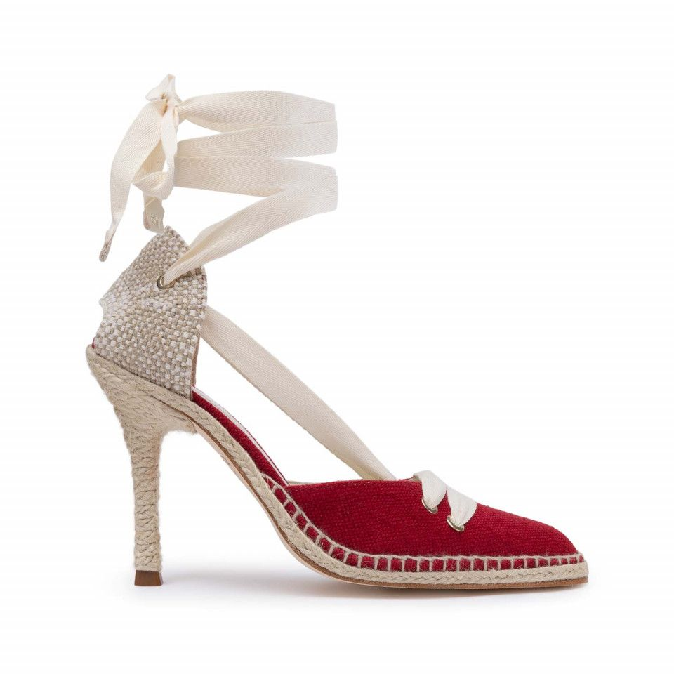 96d0ceb4 Castañer by Manolo Blahnik medium high-heel linen vamp and counter ...