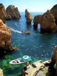 Going by boat in the Algarve, Portugal