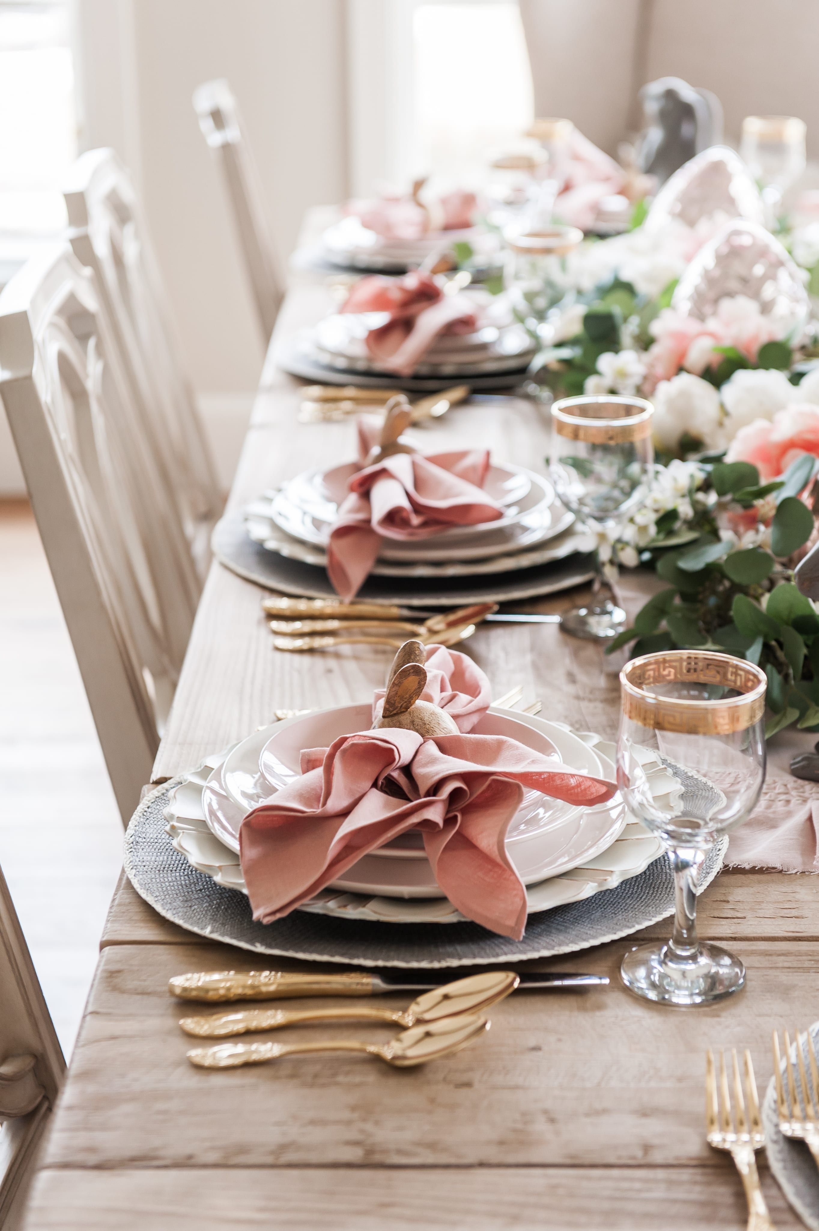 Pink And Gray Easter Tablescape Home With Holly Table Centerpieces For Home Easter Table Centerpieces Dinner Table Setting