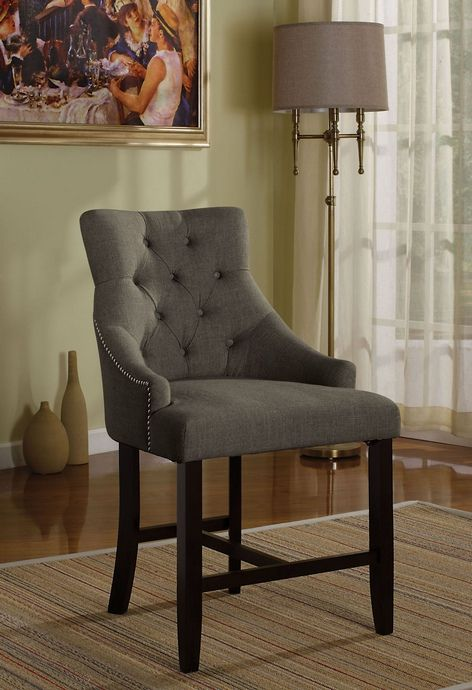Acme 59197 Set Of 2 Drogo Gray Fabric Padded And Tufted Counter