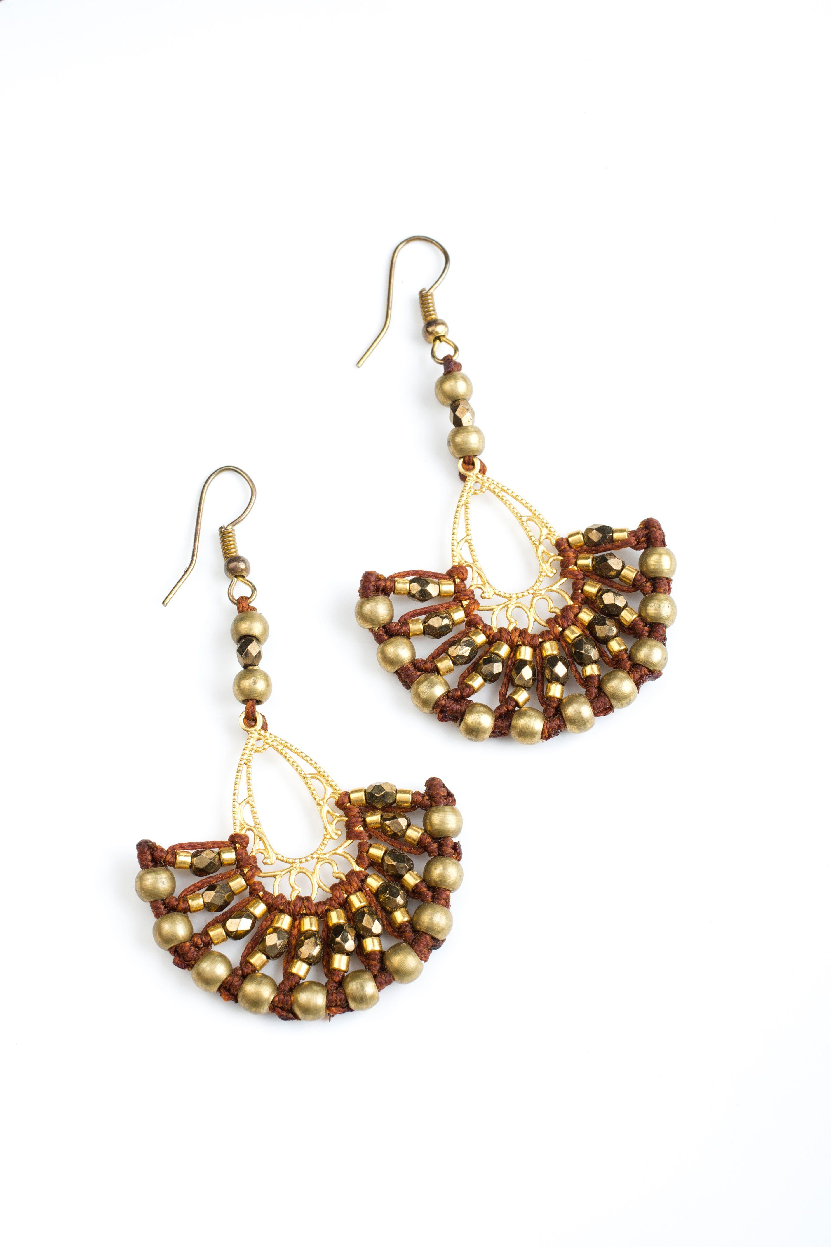 Little golden fan earrings  handmade macrame    * photo by michael topyol