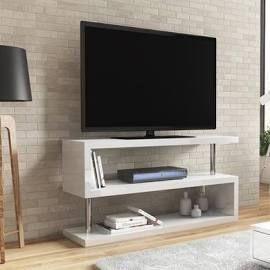 White High Gloss Geometric Tv Stand