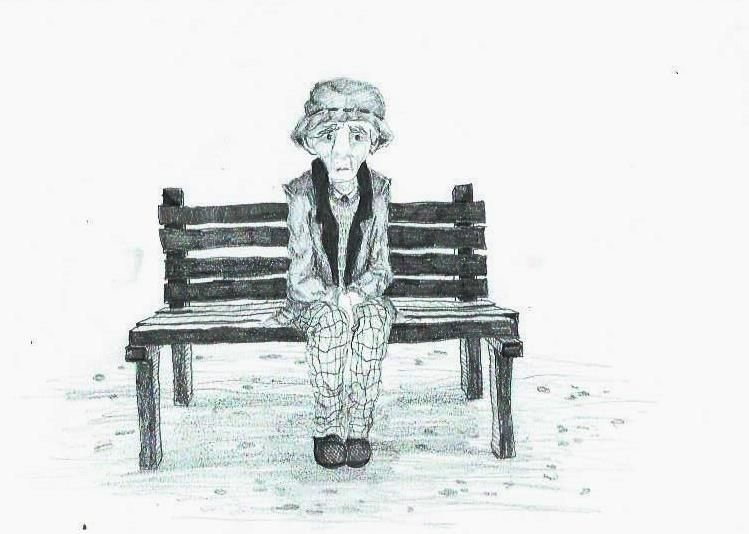 Old man sitting in a bench graphit pencil alone