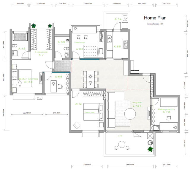 A free customizable house plan template is provided to