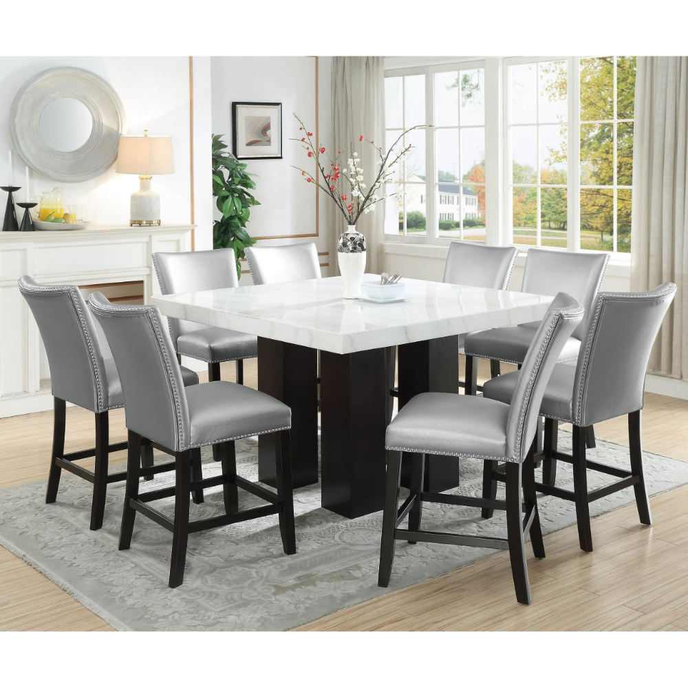 Camila 9 Piece Counter Height Dining Set With Marble Top By Steve Silver At Wayside Furniture Square Dining Room Table Dining Table Marble Dinning Room Sets
