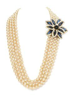 Chanel Chanel Vintage 1983 Four Strand Pearl Necklace Diamond