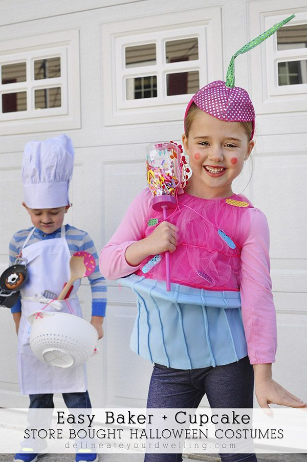 Easy Baker + Cupcake Store Bought Halloween Costumes!!  Great for dress-up…