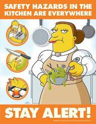 The Simpsons Safety Poster Kitchen Hazards Food Preparation Safety Posters Food Safety Posters Health And Safety Poster