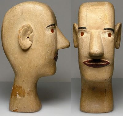 """Circa 1930's-1940's folk art carved head of a man. Labeled with the name """"Elmer"""" on the bottom."""