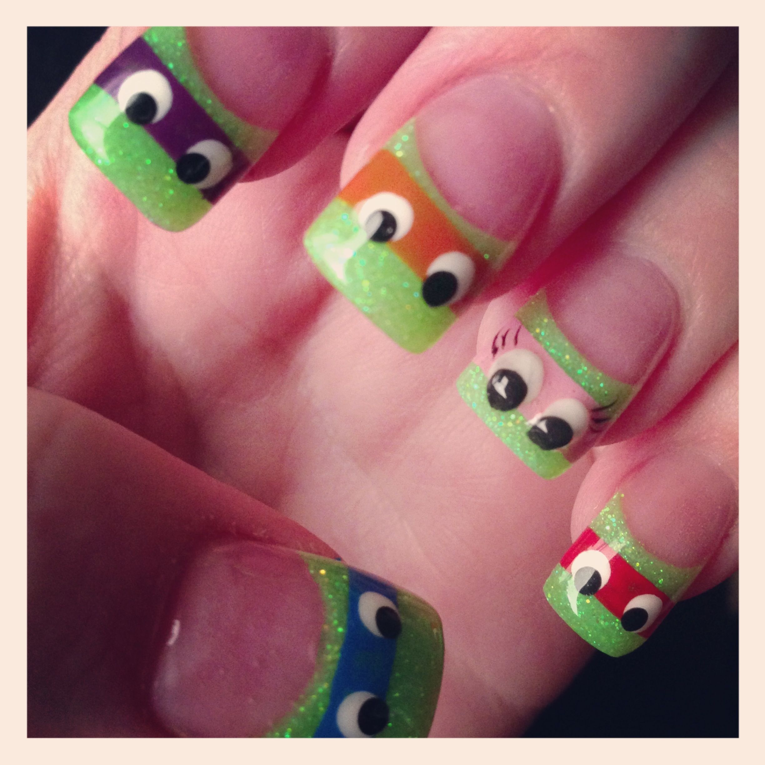 Ninja Turtle Nails With a little extra girl one added | Beauty ...