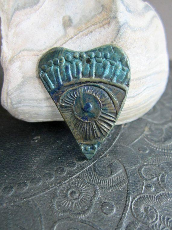 Photo of Relic of Love Blue Aqua Bronze Eye Heart Charm