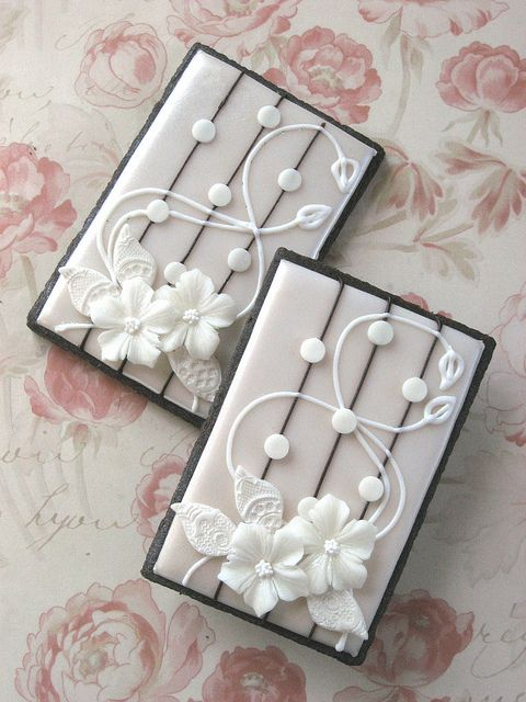 Floral Lace Wedding Cookies by drakegore, via Flickr