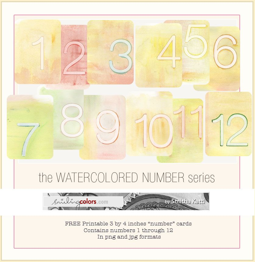 Freebie Printable Watercolor Numbers Project Life Freebies