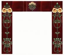 A fireplace set of reproduction c1910 Art Nouveau Rose tiles - two ...