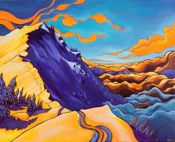 Rachel Pohl - Shredding and Painting the Awe of it All #rockdiscrete #painting #mountains #scenery