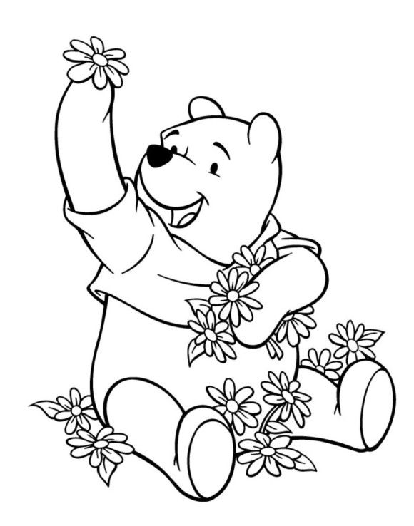 Flowers and winnie the pooh coloring pages