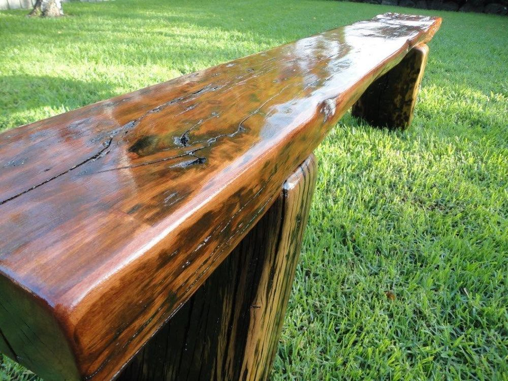 redgum railway sleeper garden bench seat gloss finish interior
