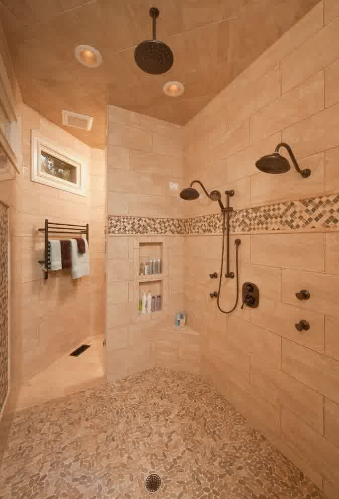 Walk In Shower Ideas Without Doors inspiration for a contemporary walk in shower Modern Bathroom With Walk In Shower Without Door Using Wall Tiles And Mosaic