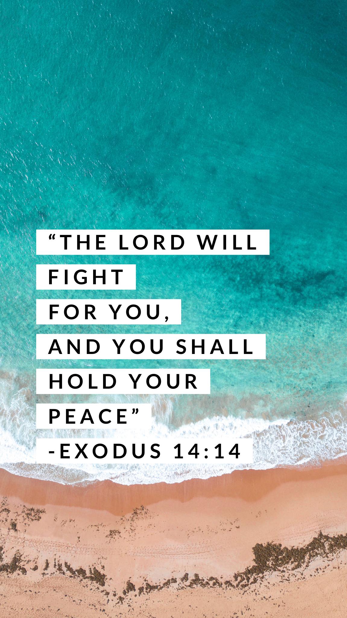 Exodus 14:14 NKJV scripture wallpaper ocean summer || the
