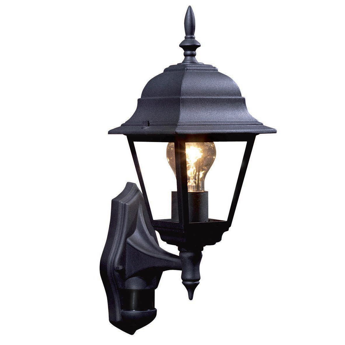 Polperro black 60w mains powered external pir lantern house front bq polperro black external lantern with pir sensor departments diy at bq good reviews workwithnaturefo