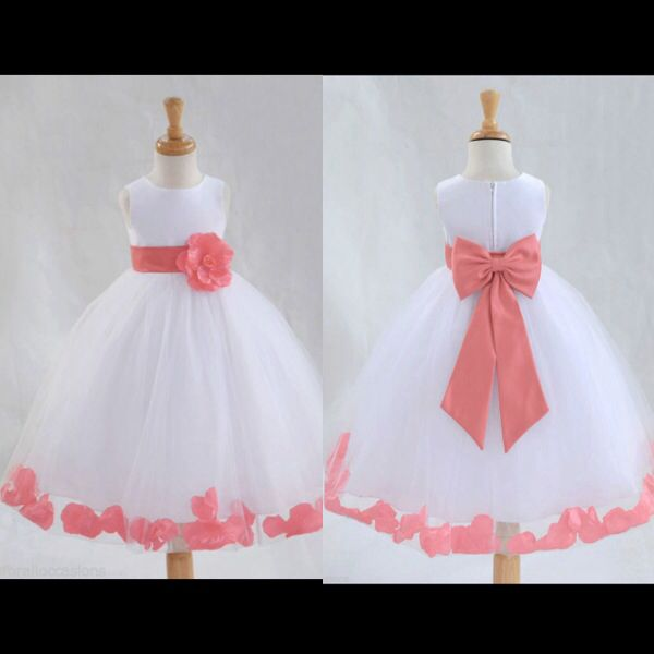 Coral flower girl dresses | M A Y♡2 0 1 4 | Pinterest | Flower ...