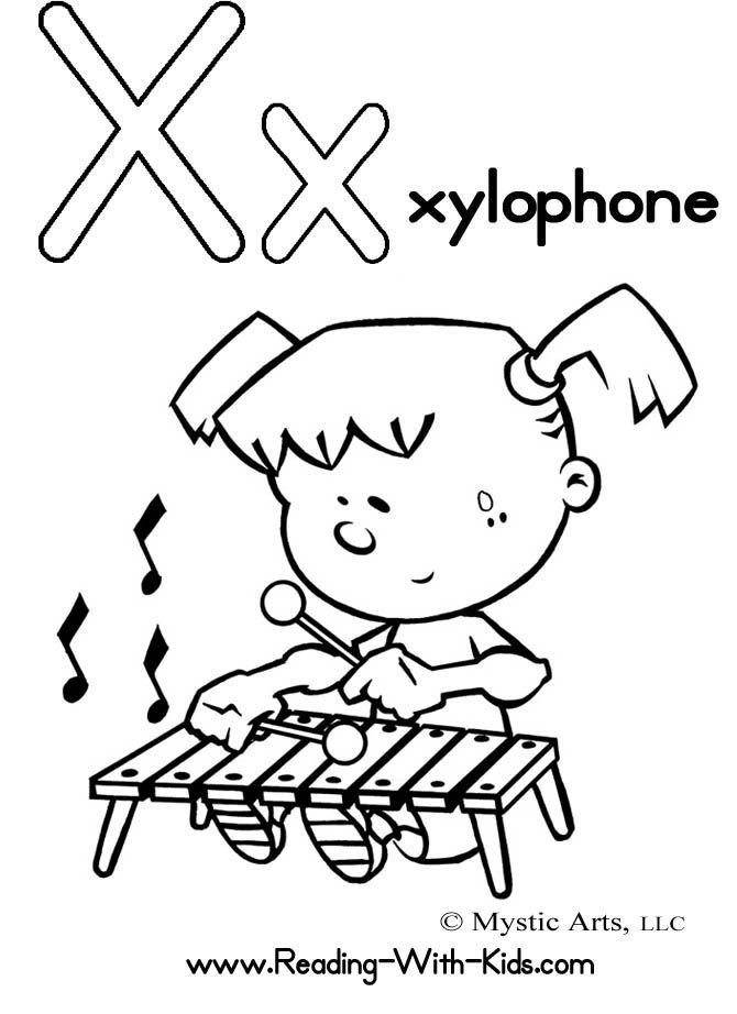 alphabet coloring pages x is for xylophone  alphabet