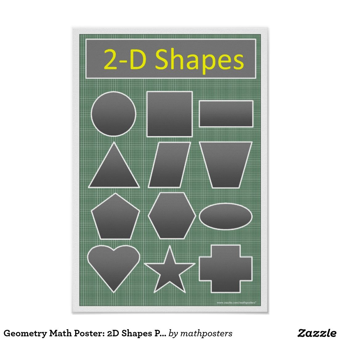 Geometry Math Poster: 2D Shapes Plane Figures Poster