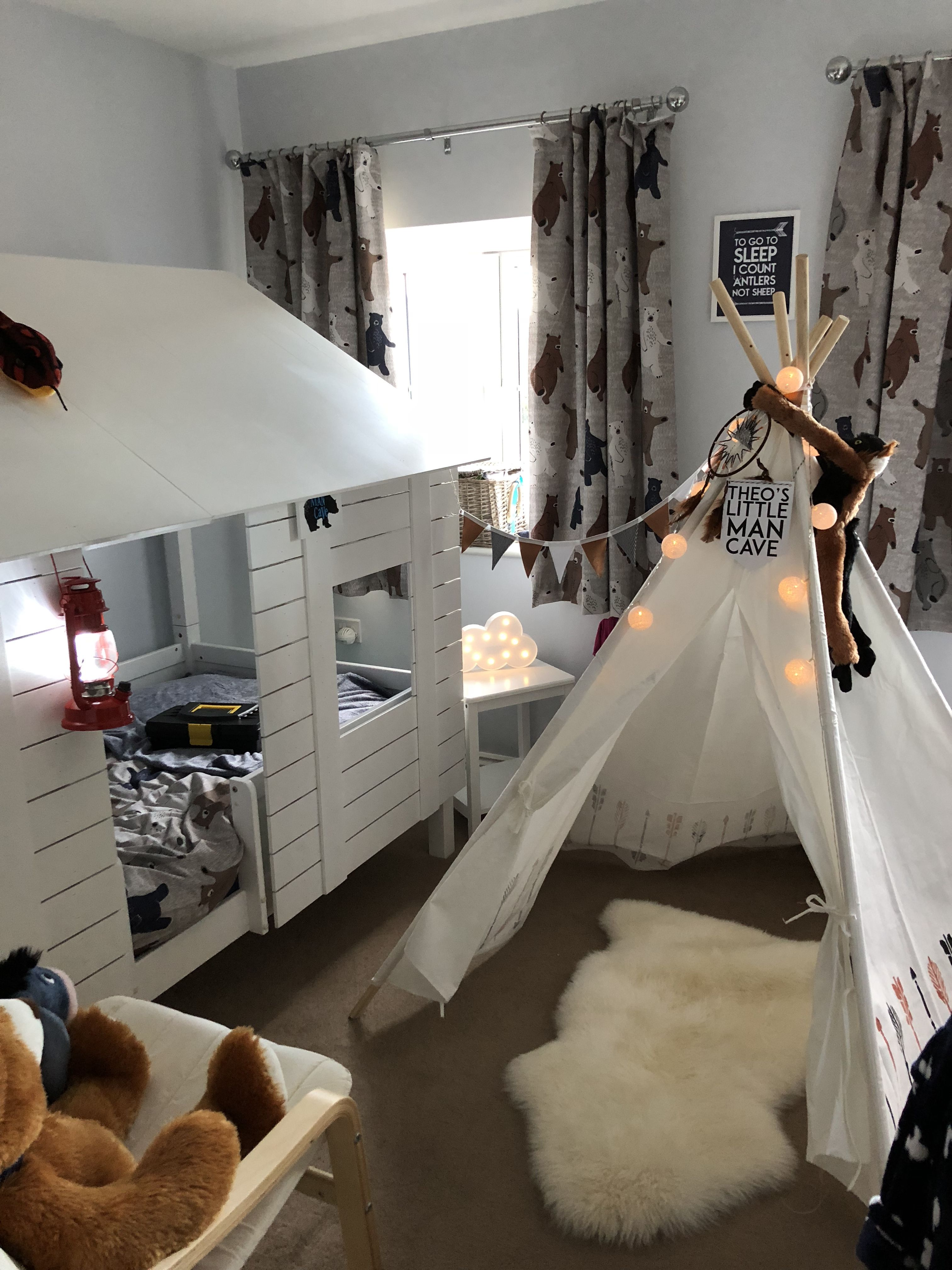 Toddler Bedroom Idea Cabin Bed Teepee Bears Camping Theme Boys Bedroom Themes Toddler Boy
