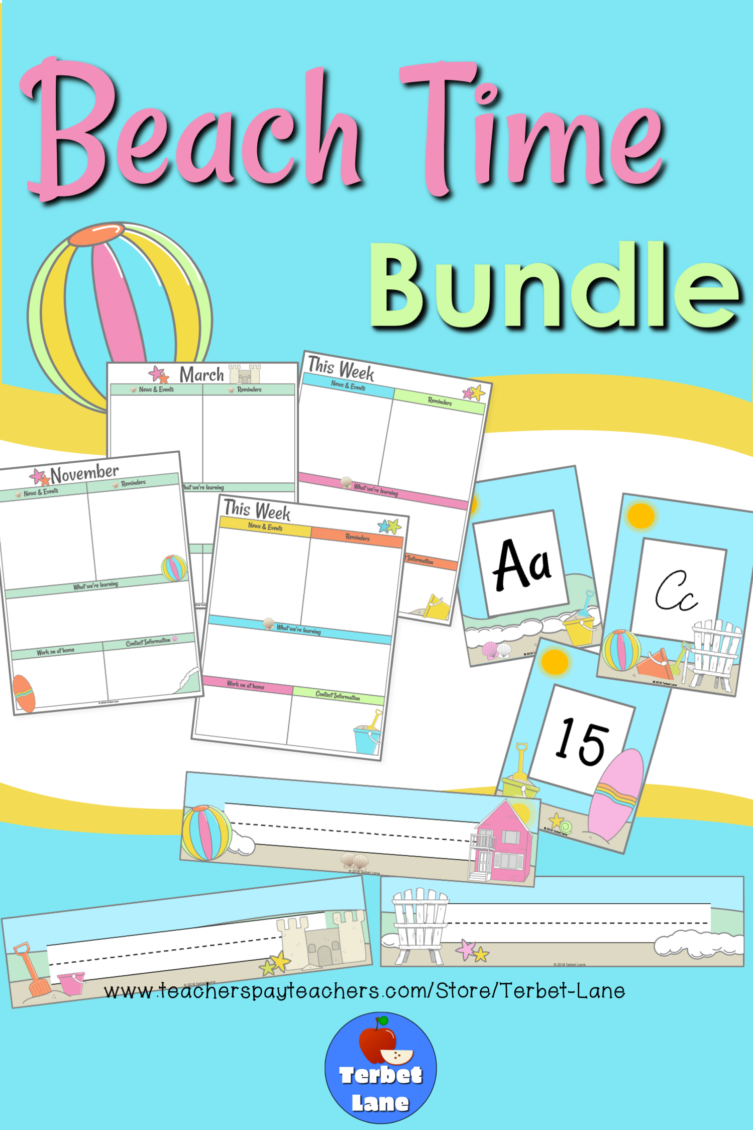 Beach Themed Classroom Decor Bundle