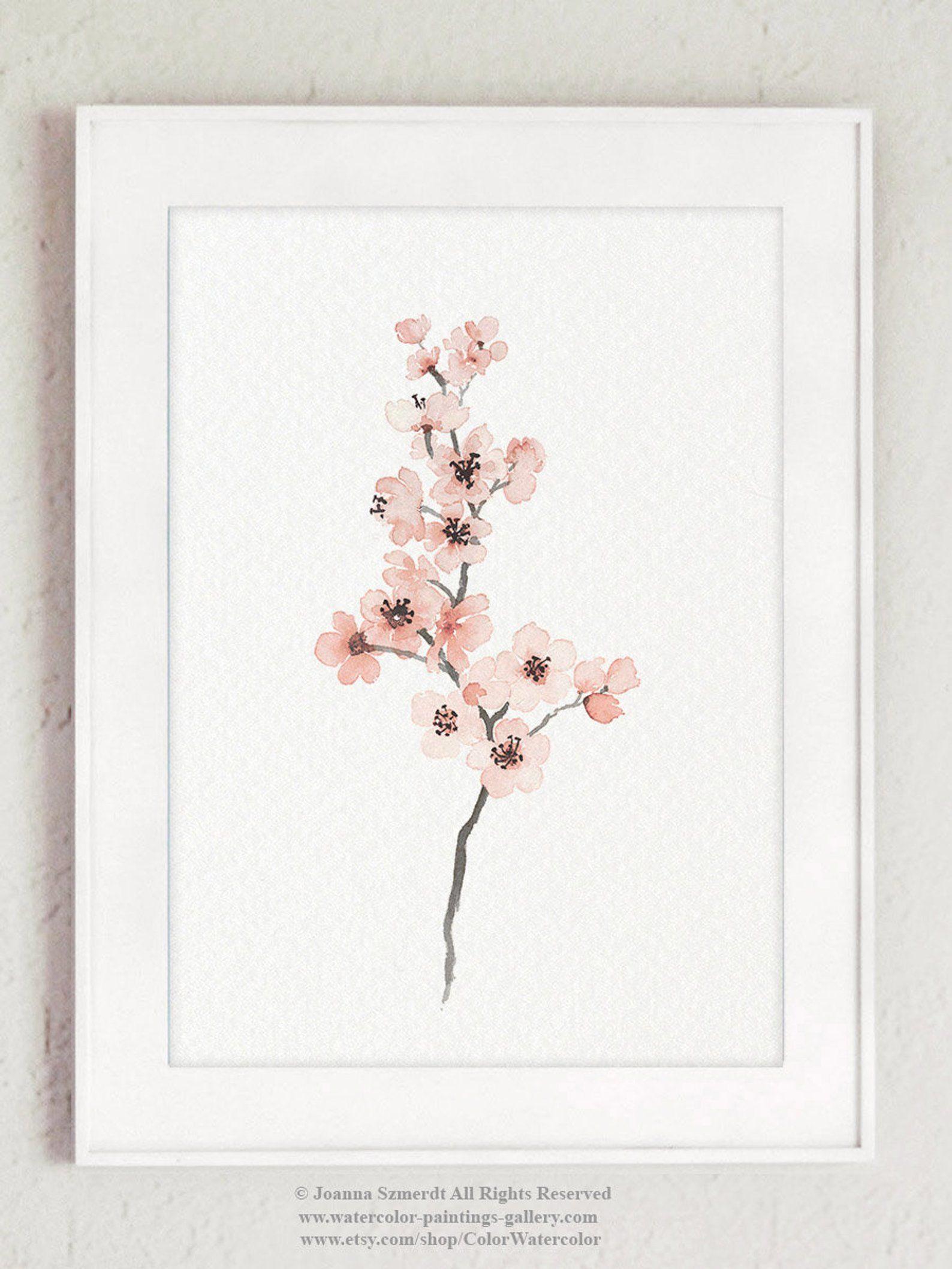 Cherry blossom pinkish grey blush pink minimalist flower