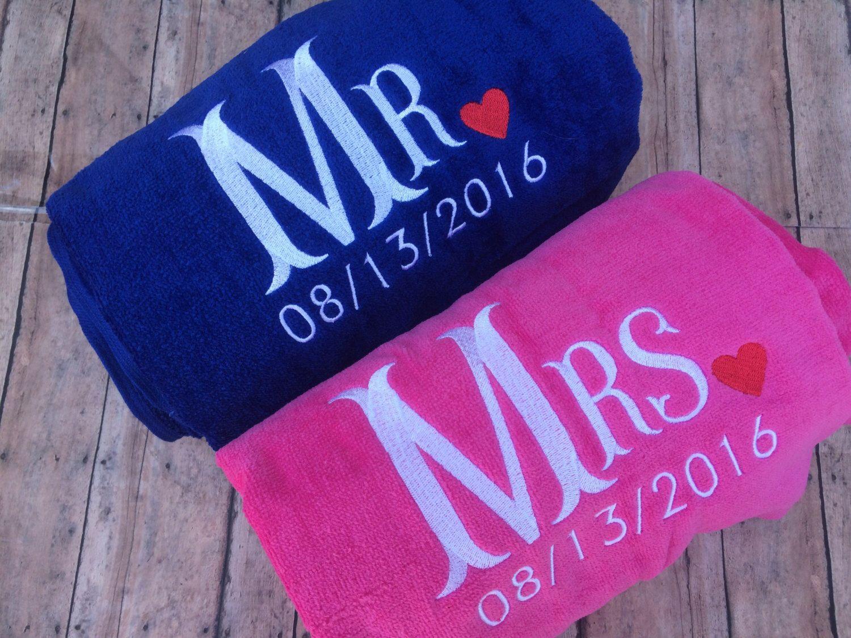 Mr Mrs Beach Towel Set And Wedding Gift Towels