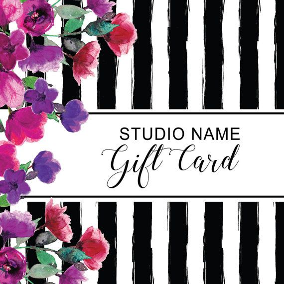 Editable Striped Gift Certificate Template Watercolor Design Card - gift card certificate template